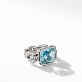 Wellesley Link Statement Ring with Sky Blue Topaz Diamonds