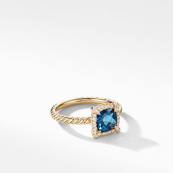 Petite Chatelaine Pave Bezel Ring in 18K Yellow Gold with Hampton Blue Topaz