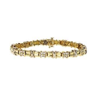 """X"" Motif & Diamond Bracelet"