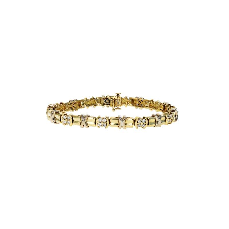 """Estate Radcliffe """"X"""" Motif & Diamond Bracelet"""