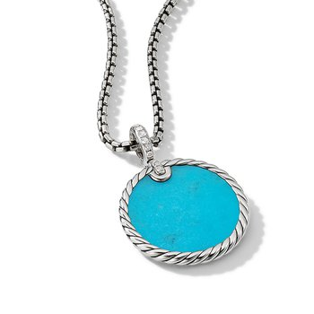 DY Elements Reversible Disc Pendant with Turquoise and Mother of Pearl and Pave Diamonds