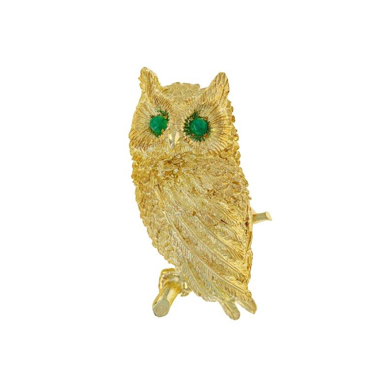 Estate Radcliffe Textured Owl Brooch