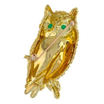 Textured Owl Brooch