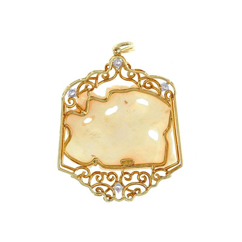 Estate Radcliffe Carved Opal & Diamond Pendant