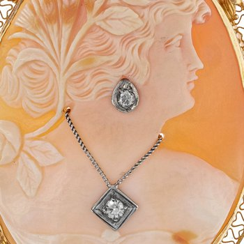 Diamond Cameo Brooch