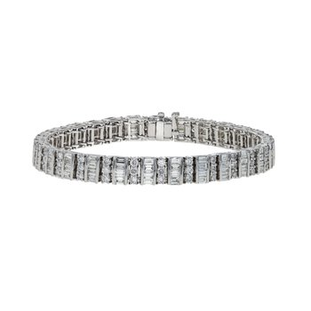 Round & Emerald Cut Diamond Bracelet
