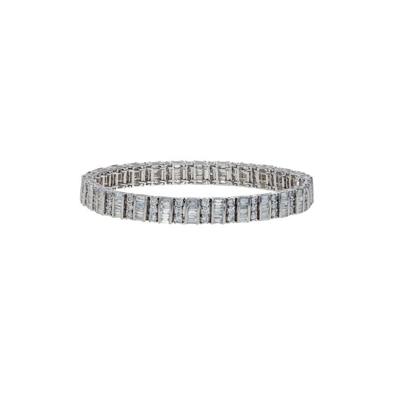 Estate Radcliffe Round & Emerald Cut Diamond Bracelet