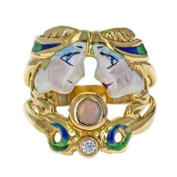 Opal & Diamond Enamel Goddess Ring