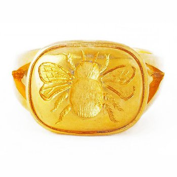 Gold Fat Bee Ring with Split Shank