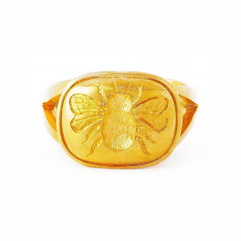 Elizabeth Locke Gold Fat Bee Ring with Split Shank