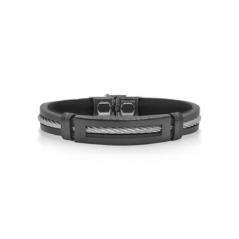 Grey Cable Bracelet with Black Rubber
