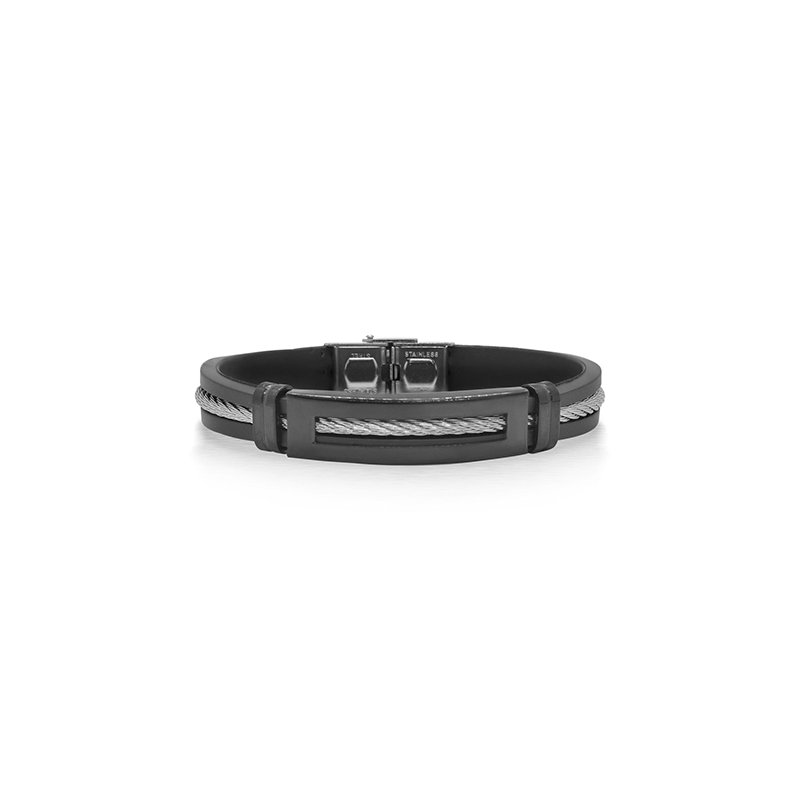 ALOR Grey Cable Bracelet with Black Rubber