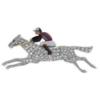 Diamond Horse & Jockey Brooch