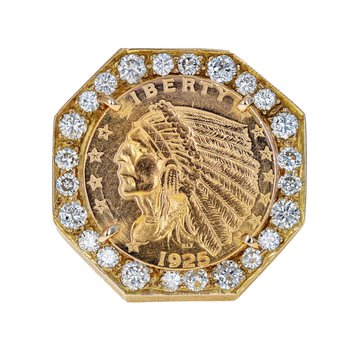 Gold Coin & Diamond Bezel Ring