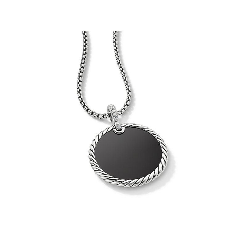 David Yurman DY Elements Reversible Disc Pendant with Black Onyx and Mother of Pearl and Pave Diamonds