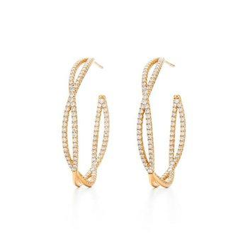 Fidelity Hoop Earrings with Pave Diamonds