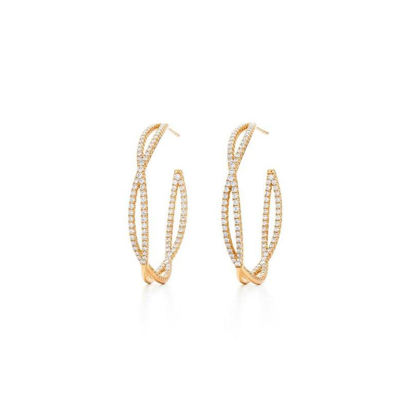 Kwiat Fidelity Hoop Earrings with Pave Diamonds