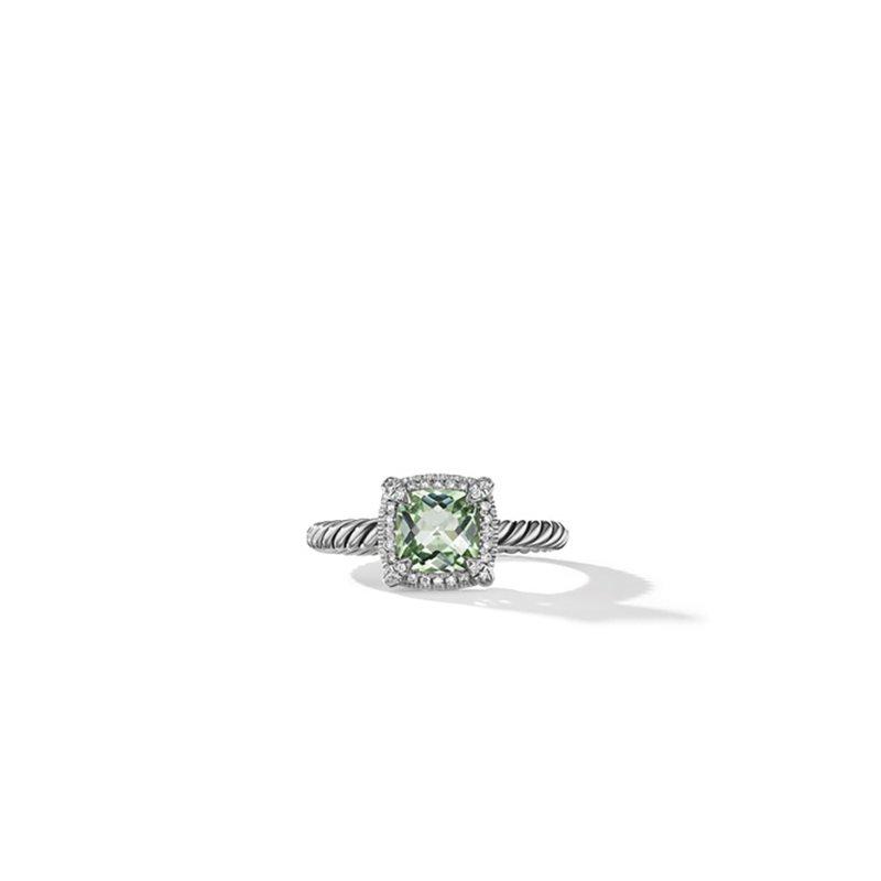 David Yurman Petite Chatelaine® Pavé Bezel Ring with Prasiolite and Diamonds