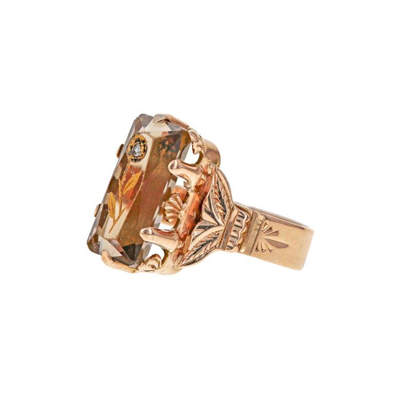 Estate Radcliffe Smoky Topaz & Diamond Ring