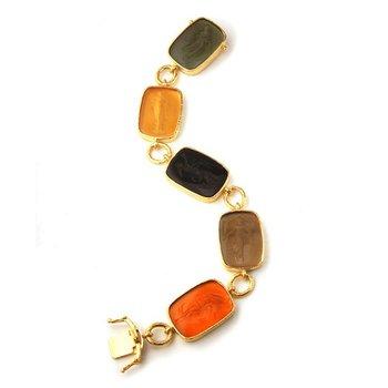 "Neutral Venetian Glass Intaglio ""Muse"" Bracelet"