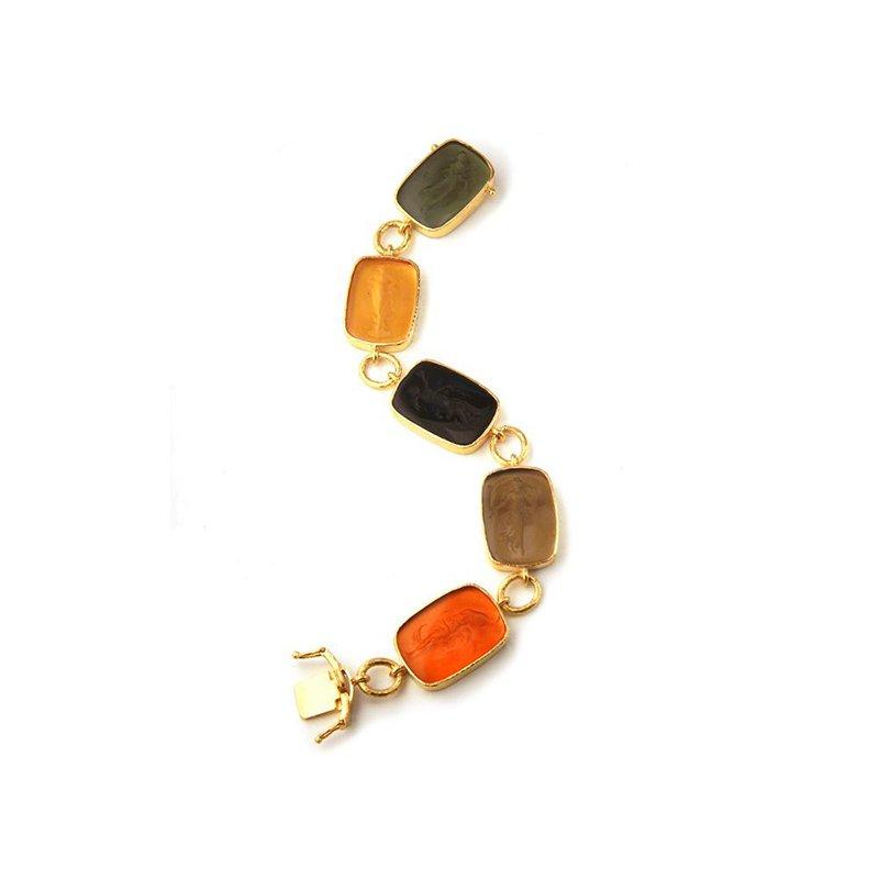 """Elizabeth Locke Neutral Venetian Glass Intaglio """"Muse"""" Bracelet"""