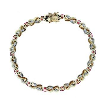 "Diamond & Ruby ""X"" Link Bracelet"
