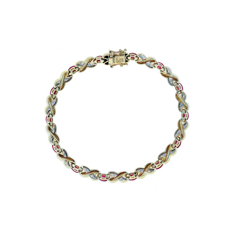 "Estate Radcliffe Diamond & Ruby ""X"" Link Bracelet"