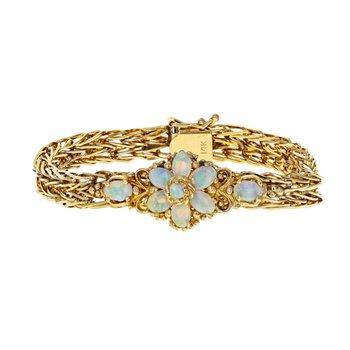 Woven Opal Flower Bracelet