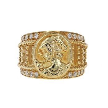Beaded Diamond Signet Ring
