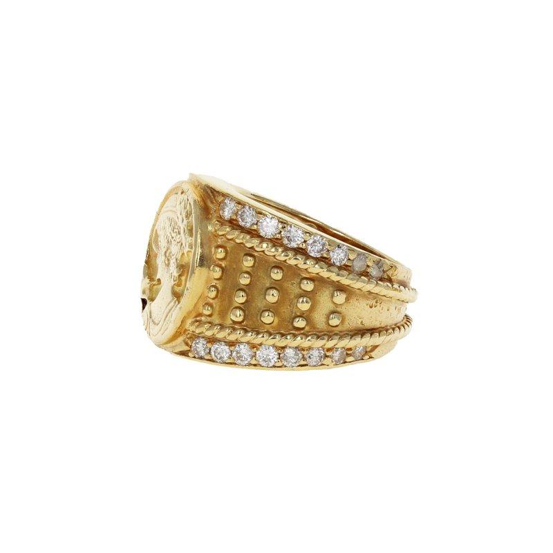 Estate Radcliffe Beaded Diamond Signet Ring
