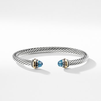 Cable Classic Bracelet with Blue Topaz and Gold