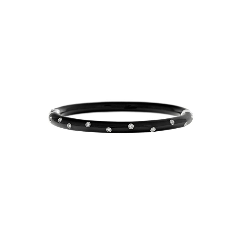 Estate Soho Jewelry Black Enamel & Diamond Bracelet
