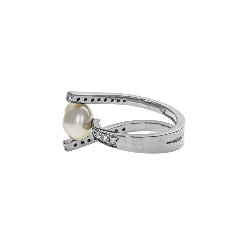 Estate Radcliffe Baroque Pearl & Diamond Ring