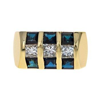 Diamond & Sapphire Inlay Ring