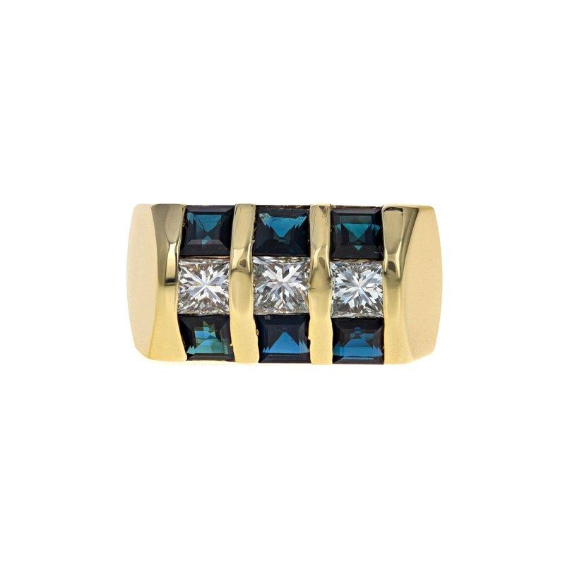 Estate Radcliffe Diamond & Sapphire Inlay Ring