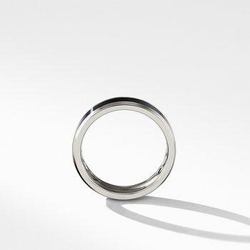 Beveled Band Ring in Grey Titanium with Black Titanium