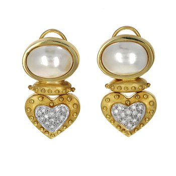 Mabe Pearl & Diamond Heart Earrings