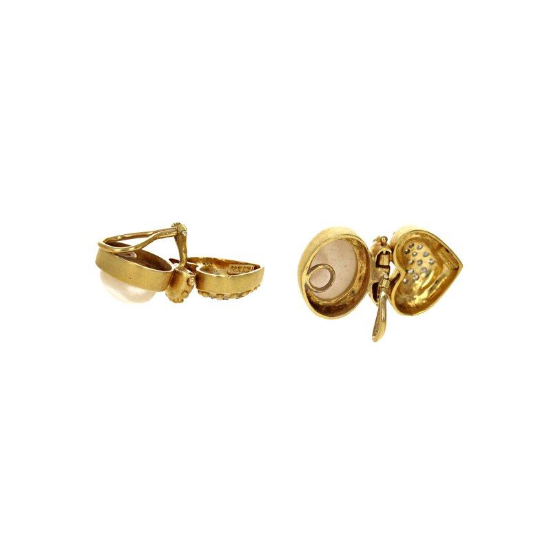 Estate Radcliffe Mabe Pearl & Diamond Heart Earrings