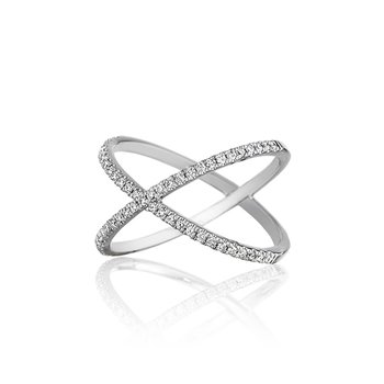 Diamond Crossover Wedding Band