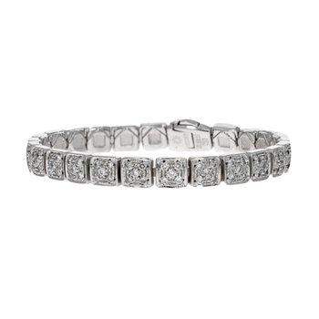Diamond Square Link Bracelet