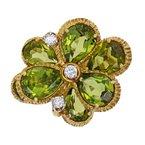 Estate Radcliffe Peridot & Diamond Flower Ring