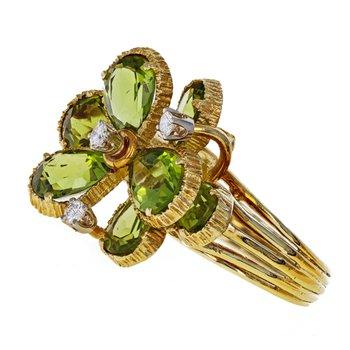 Peridot & Diamond Flower Ring