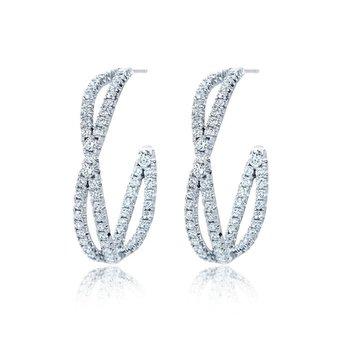 Fidelity Petite Hoop Earrings with Pave Diamonds