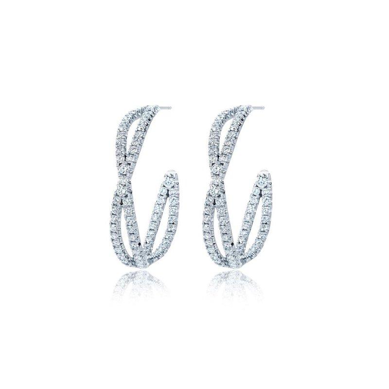 Kwiat Fidelity Petite Hoop Earrings with Pave Diamonds
