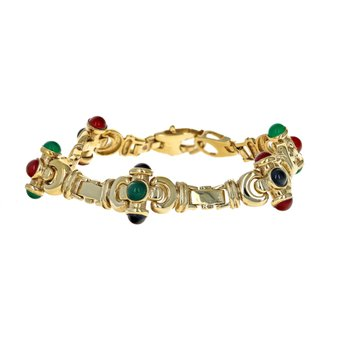 Cabochon Stone Link Bracelet
