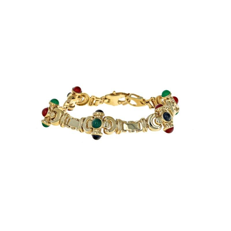 Estate Radcliffe Cabochon Stone Link Bracelet