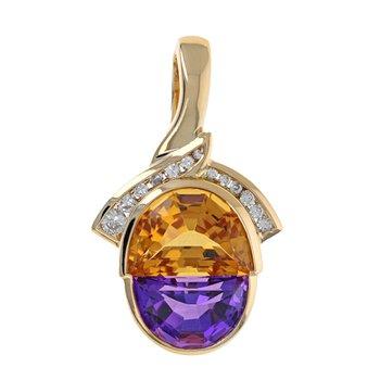 Diamond, Amethyst & Citrine Pendant