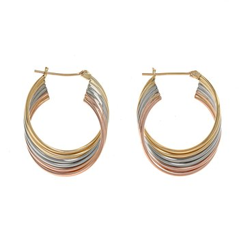 Tri-Color Twisted Hoop Earrings