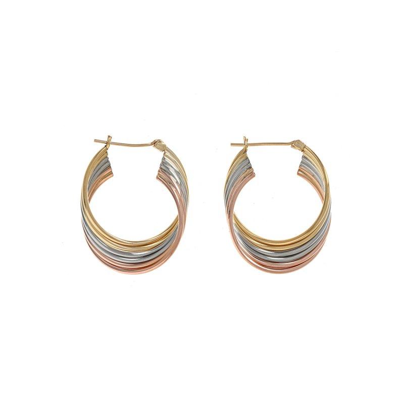 Estate Radcliffe Tri-Color Twisted Hoop Earrings