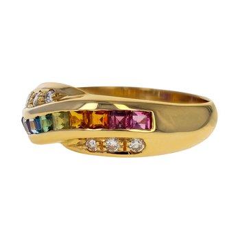 Rainbow Gemstone & Diamond Ring